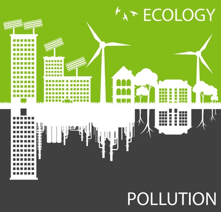 Green ecology city against pollution background concept Vector