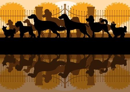 retro sunrise: Various dog breeds detailed silhouettes in vintage dog park landscape background illustration Illustration