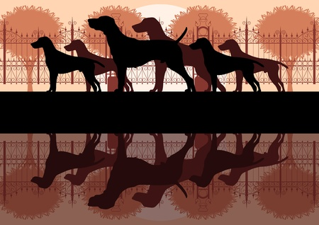 royal family: Various dog breeds detailed silhouettes in vintage dog park landscape background illustration Illustration