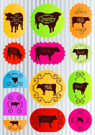 Beef cattle food labels illustration collection background Vector