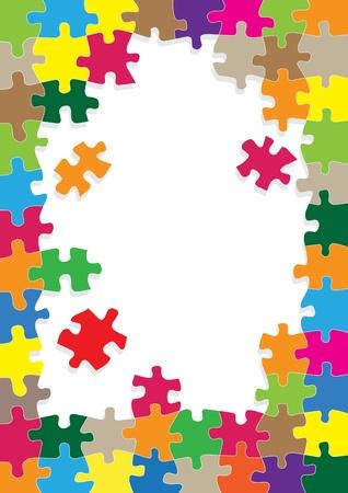 cartoon rainbow: Rompecabezas de colores de fondo para el cartel del rompecabezas Vectores