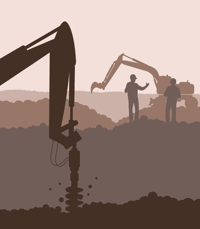 idraulico: Foratrice idraulica, macchine movimento terra, fondo Vettoriali