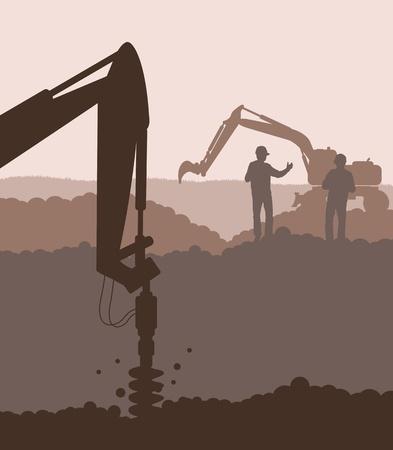 Hydrauliczna wiertnica, maszyny tło maszyny budowlane