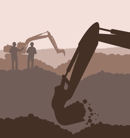 Excavator loader at construction site with raised bucket background Vector