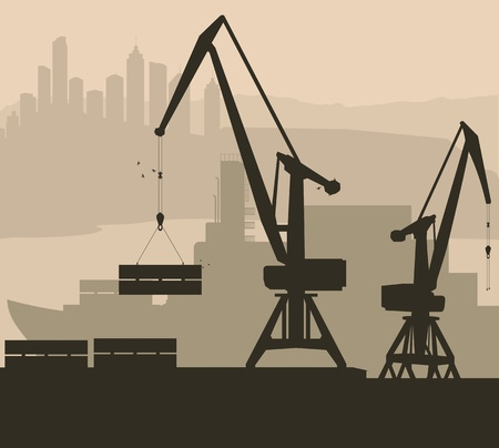 Harbor port crane with ship background for poster Vector