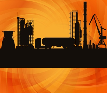 manufacturing equipment: Oil refinery station and track background illustration Illustration