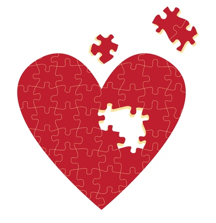 missing puzzle piece: Jigsaw puzzle heart illustration background for poster