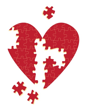 heart disease: Jigsaw puzzle heart illustration background for poster
