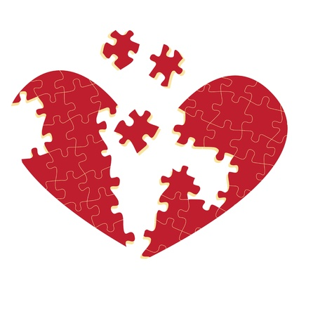cardiac care: Jigsaw puzzle heart illustration background for poster