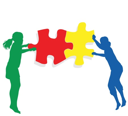 complete solution: Teamwork solution background. Kids making together colorful jigsaw puzzle