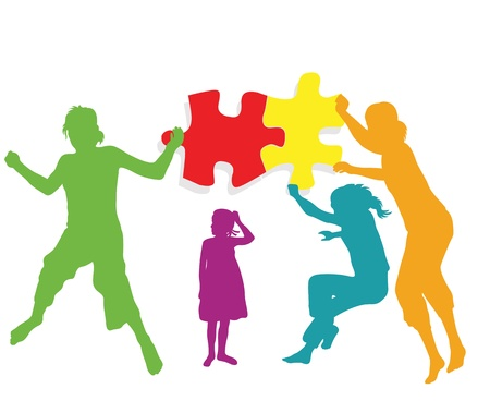 Teamwork solution background. Kids making together colorful jigsaw puzzle Vector