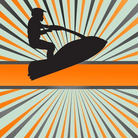 Ski jet water sport motorcycles silhouettes illustration burst background Vector