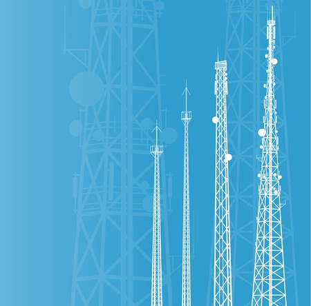 Telecommunications tower, radio or mobile phone base station background Vector