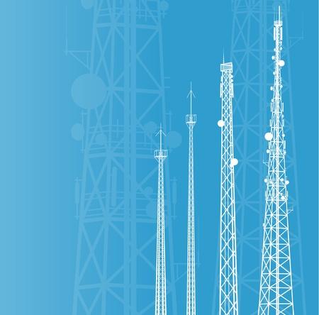 Torre de telecomunicaciones, de radio o de fondo la estación base de telefonía móvil Ilustración de vector