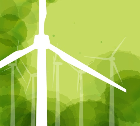 pollution free: Wind electricity generators background for poster