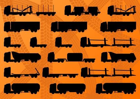 camión cisterna: Camión de la carretera detallada, remolques y cisternas de petróleo editables siluetas colección de ilustración de fondo Vectores