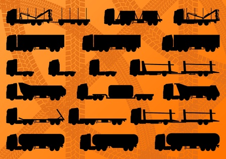 Detailed highway truck, trailer and oil cisterns editable silhouettes illustration collection background