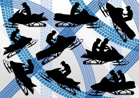 snow track: Snowmobile motorbike silhouettes illustration collection on colorful winter ice track background Illustration