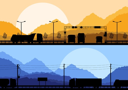 Highway truck wild nature landscape background illustration collection Stock Vector - 13412537