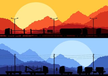 convoy: Highway truck selvaggia, natura, paesaggio di sfondo raccolta illustrazione