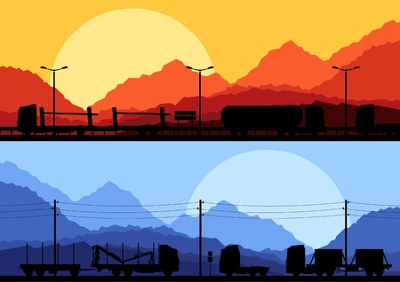 Highway truck wild nature landscape background illustration collection Vector