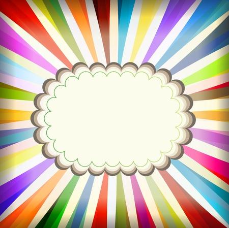 starbursts: Vintage plantilla de colores con fondo retro explosi�n sol poster Vectores