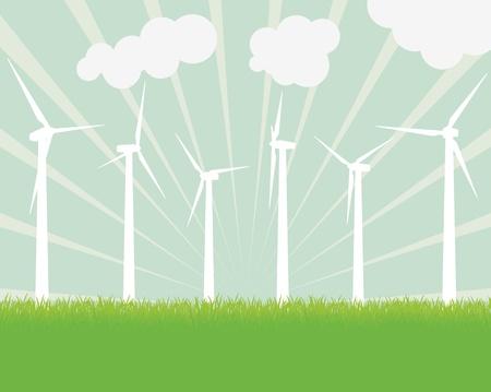 Ecology wind generator background landscape for poster Illustration