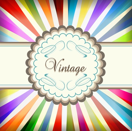 Vintage colorful template with retro sun burst background for poster Illustration