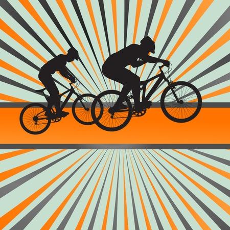 Mountain biking burst background for poster Vector