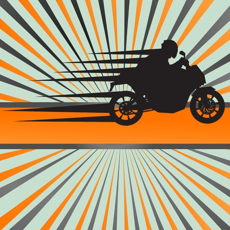 moto: Race motorcycle burst background for poster Illustration