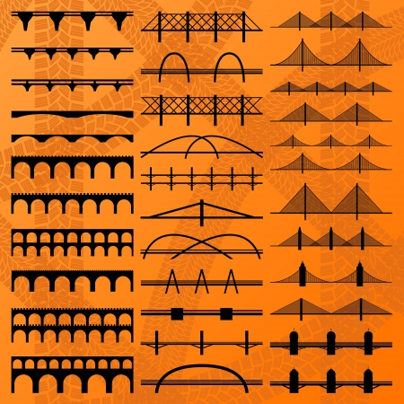bridge construction: Bridge construction silhouettes illustration collection background