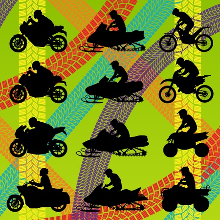 quad: All terrain vehicle quad motorbikes riders illustration collection on colorful summer tire track background Illustration