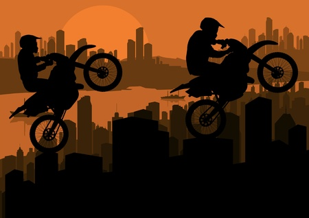 Motorbike trial sport riders in skyscraper city landscape background illustration Vector