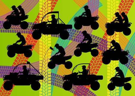 off track: All terrain vehicle quad motorbikes riders illustration collection on colorful summer tire track background Illustration
