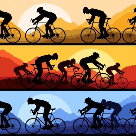 Sport road bike riders and bicycles detailed silhouettes collection in wild mountain nature landscape background illustration Illustration