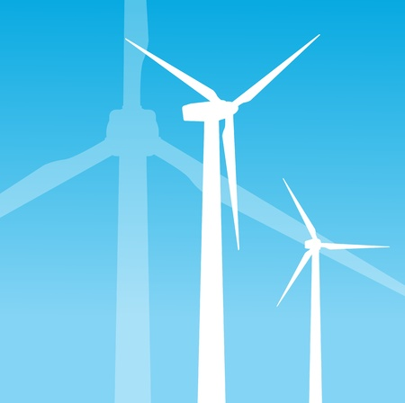 abstract mill: Wind electricity generators background for poster