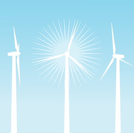 Wind electricity generators background for poster Vector
