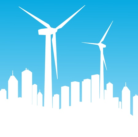 clean sky: Wind electricity generators background for poster
