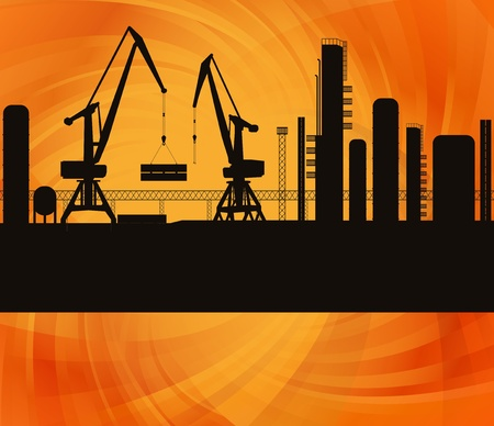 roughneck: Oil refinery station background illustration