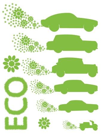 hybrid car: Ecology electrical car background green concept Illustration