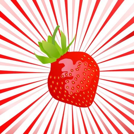 Beautiful and sweet strawberry sun burst background Stock Vector - 13444834