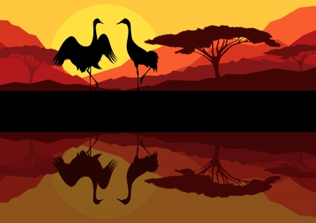 animal mating: Crane couple in wild mountain nature landscape background illustration vector Illustration