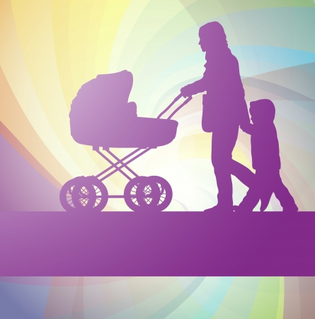 Mother with baby carriage and kid vector background Vector