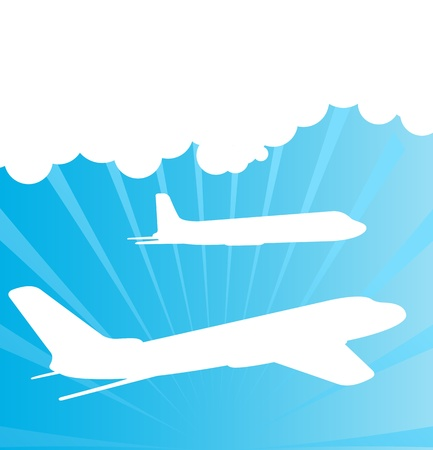 Airplane silhouettes background vector for poster Vector