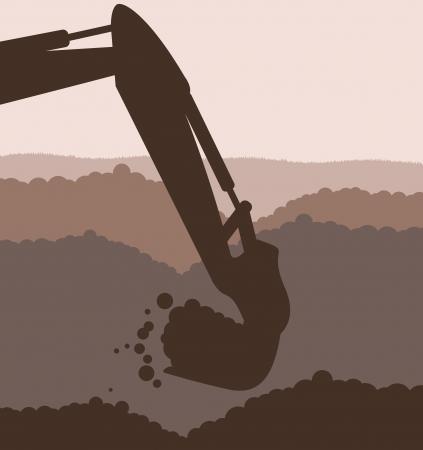 kopalni: Ładowarka koparka na budowie z podniesioną tło wektor wiadro