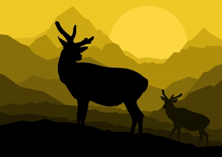 Deer family couple silhouettes in wild mountain nature landscape background illustration vector Stock Vector - 13820918