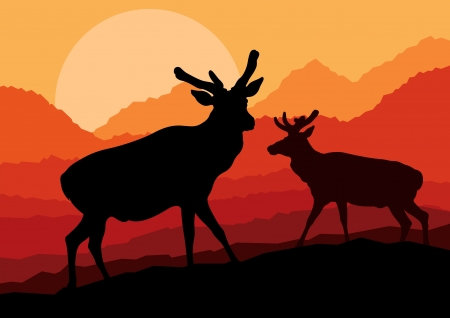 Deer family couple silhouettes in wild mountain nature landscape background illustration vector Stock Vector - 13820919