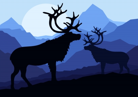 Deer family couple silhouettes in wild mountain nature landscape background illustration vector Stock Vector - 13820858