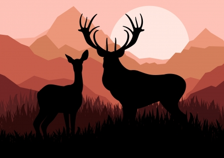 Deer family couple silhouettes in wild mountain nature landscape background illustration vector Vector
