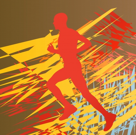 run way: Silhouette of runner vector in front of colorful abstract background
